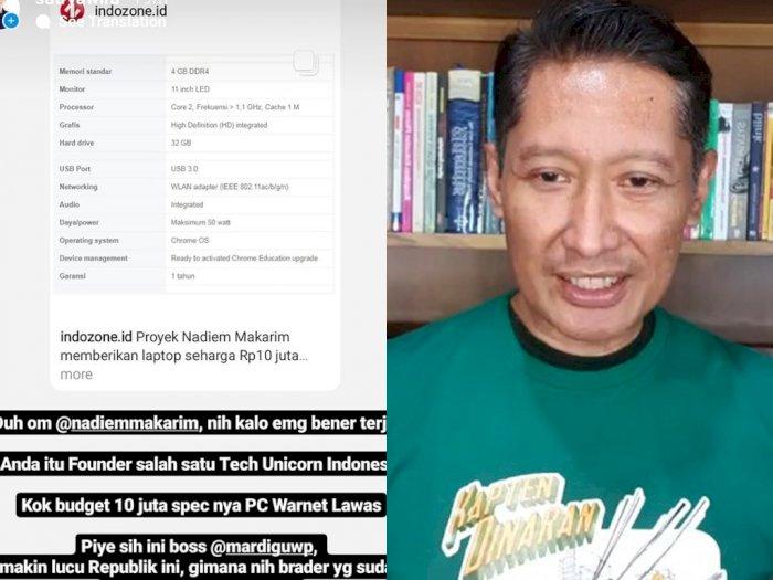 Sindir Pengadaan Laptop Pelajar Harga Rp10 Juta Tapi Spek Somplak, Bossman: Bagi-bagi Dong Lebihannya!