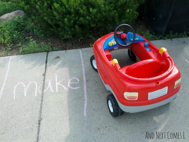 Sight word parking lot game for kids to play outdoors