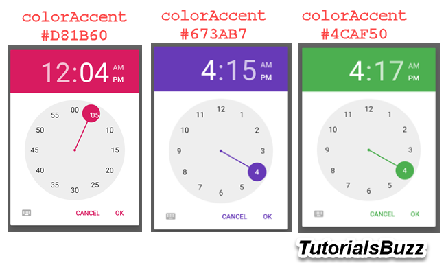 Android TimePicker Dialog Clock