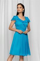 Rochie de ocazie Pamela albastra cu volanase
