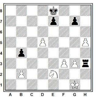 Estudio artístico de ajedrez compuesto por S. Sajarov y L. Mitrofanov (Chervoni Girnik, 1977)