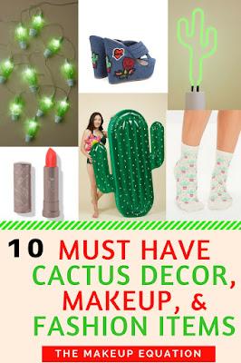 Do you love anything cactus like I do?  The cactus has made a comeback in a major way, and it's the number one trend this summer.  Find out what my 10 must have cactus home decor, cactus makeup, and cactus fashion items are.