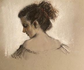 charcoal and compressed pastel profile woman gray paper white accents