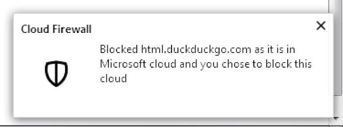 Cloud Firewall blocks DuckDuckGo