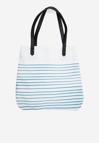 Túi xách vải Funky Fish trắng sọc xanh in bàn tay