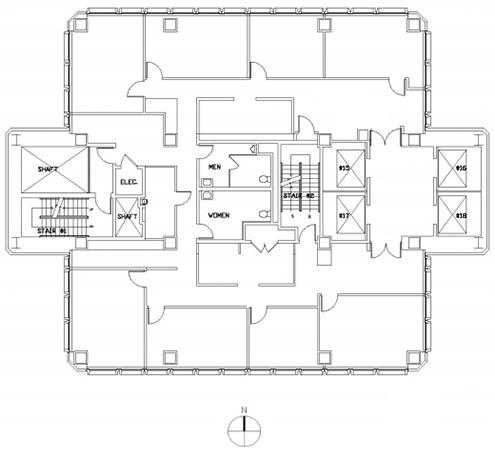 Plano o dibujo de la Transamerica Pyramid en el nivel 39