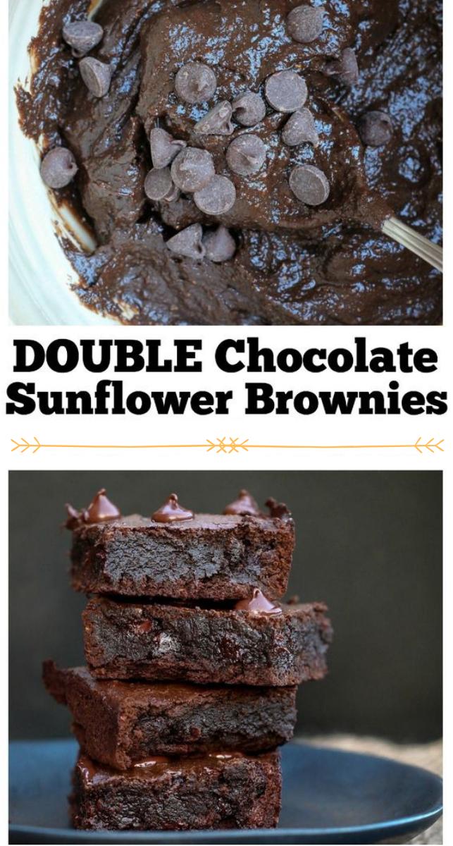 Vegan Fudgy Sunflower Brownies #vegan #brownies