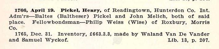 Genea-Musings: Treasure Chest Thursday -- 1766 Henry Pickel