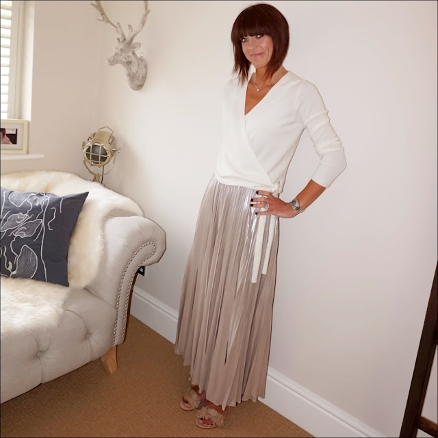 My Midlife Fashion, marks and spencer cashmere ballet wrap, debenhams jenny packman no 1 gold pleated maxi skirt, nude frill detailed sandals