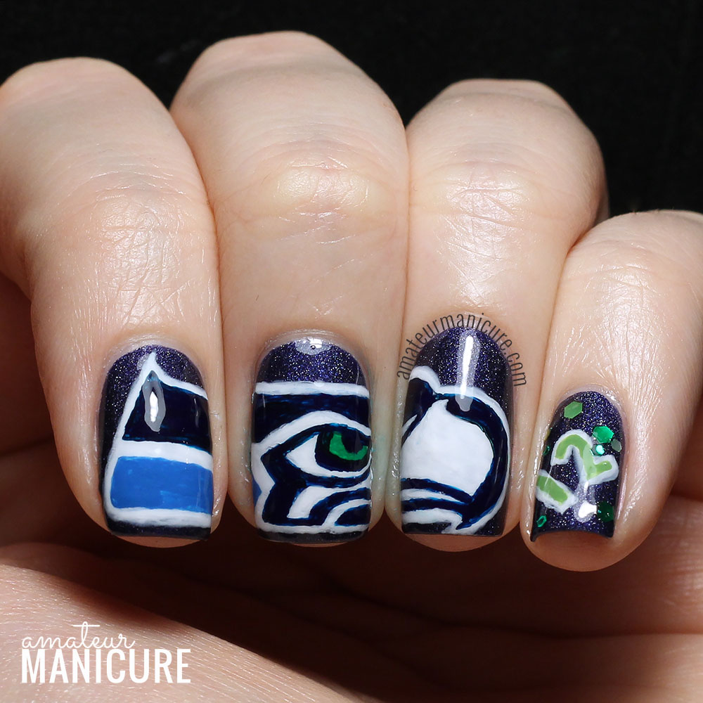 Amateur Manicure A Nail Art Blog Seattle Seahawks Super Bowl Xlix