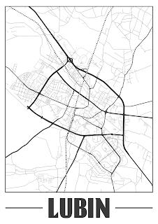 Plakat plan miasta Lubin