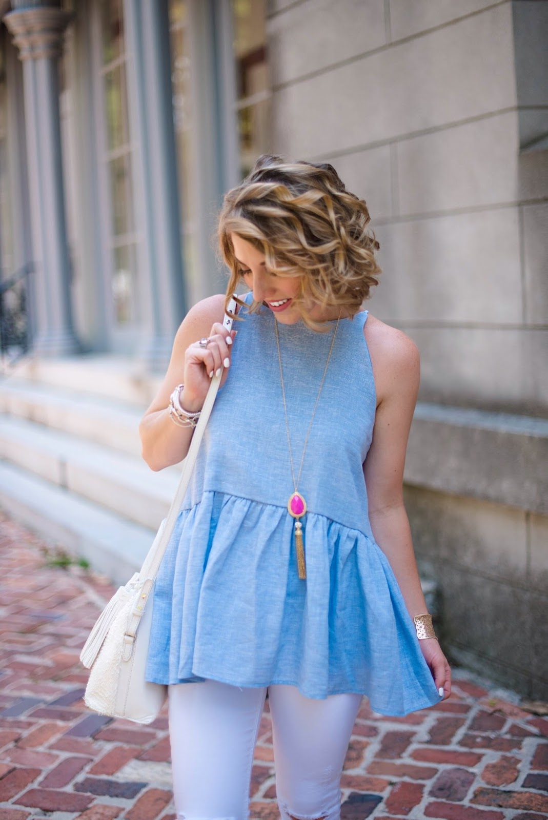 Blue Peplum Top - Click through to see more on Something Delightful Blog!