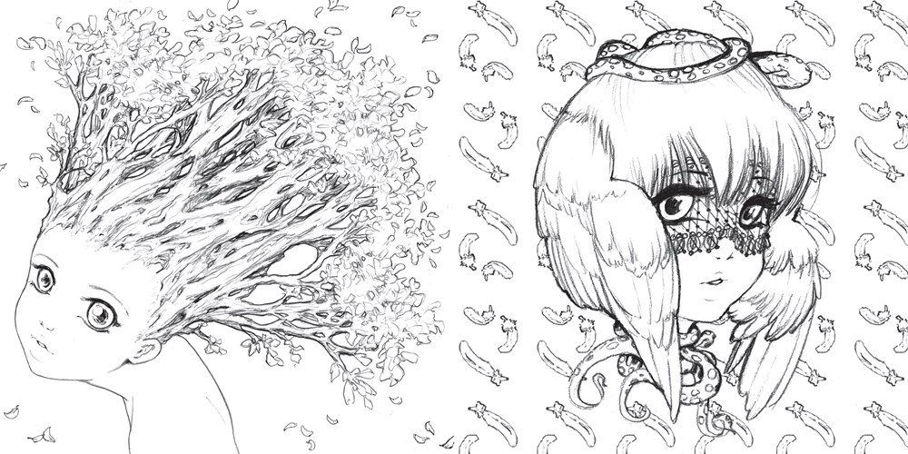 about book manga artist and pop surrealism superstar camilla derrico presents her first ever adult coloring book filled with portraits patterns - Manga Coloring Book