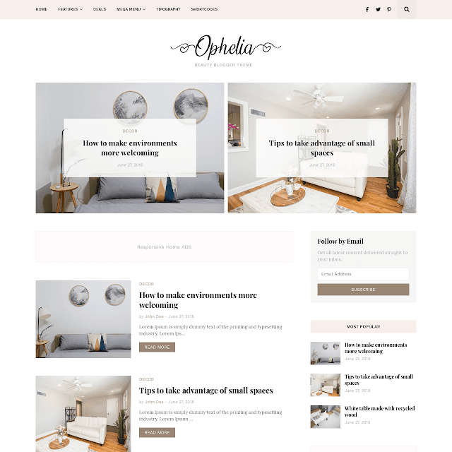 Ophelia blogger template