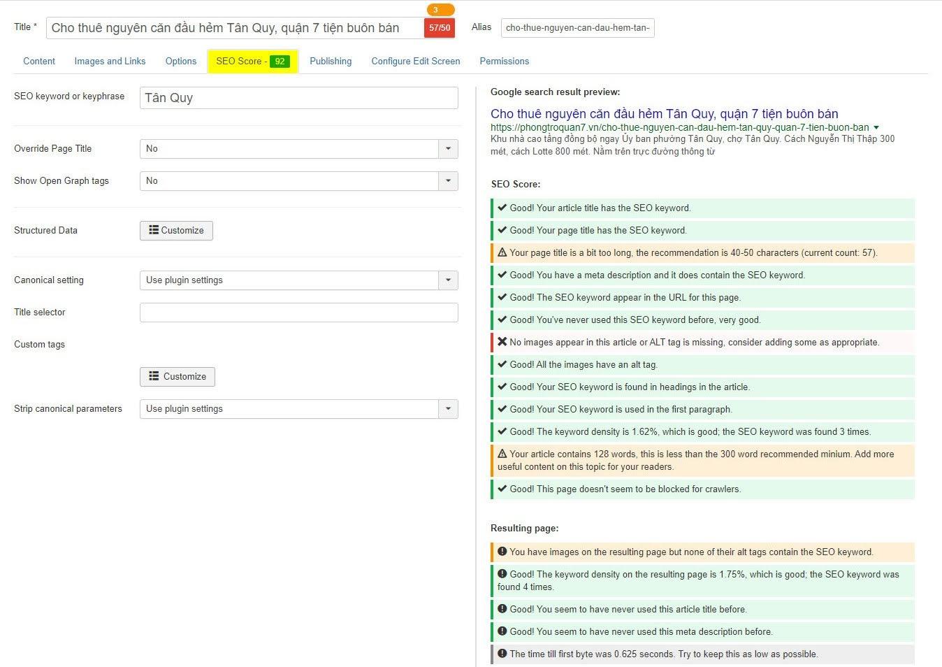 Công cụ hỗ trợ viết bài SEO Joomla PWT SEO