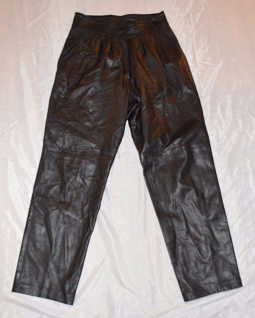 Womens Vintage Talala Leather Pants ~ Black ~ Tapered Leg ~ High Waist ~ Pleated