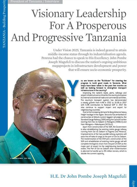 Rais Magufuli ang'ara kwenye Jarida la Forbes Africa