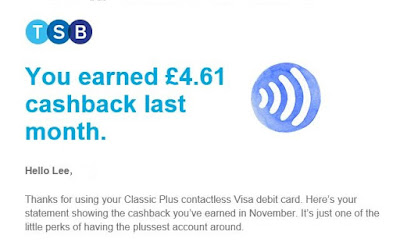 I earned 5% cashback by using my TSB contactless debit card.