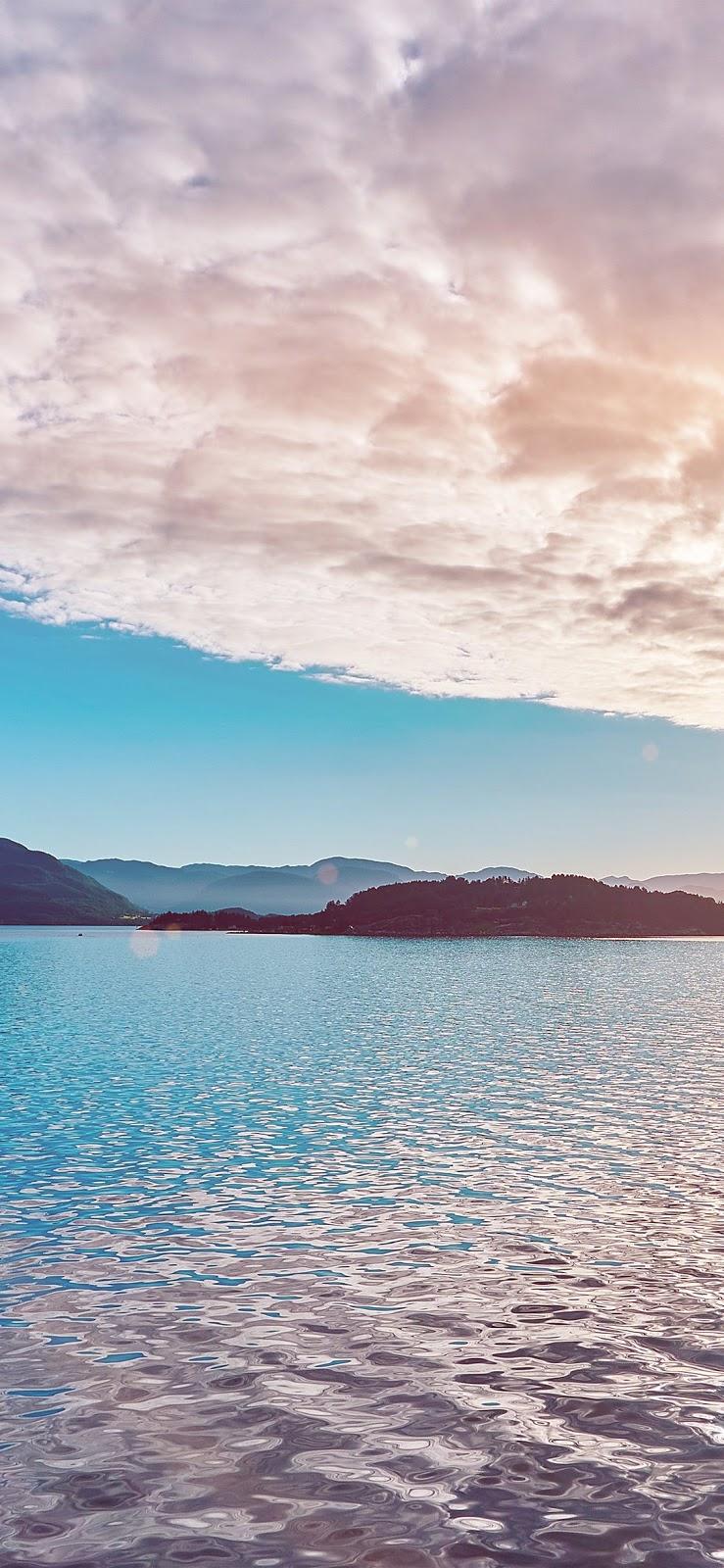 Wallpaper, sfondi iPhone, cielo, nuvole, montagne, lago
