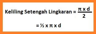 Keliling Setengah Lingkaran = ½ x π x d