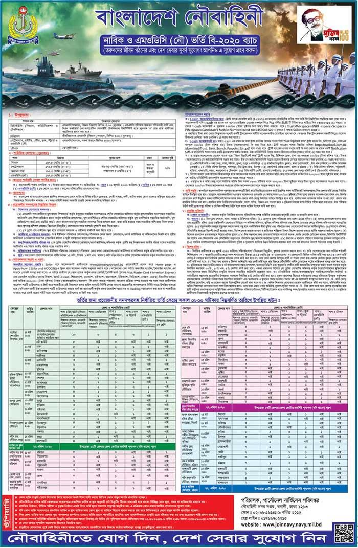 বাংলাদেশ নৌবাহিনীতে নাবিক ও এমওডিসি নিয়োগ বিজ্ঞপ্তি