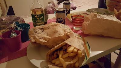 Two souvlakis and a retsina for dinner