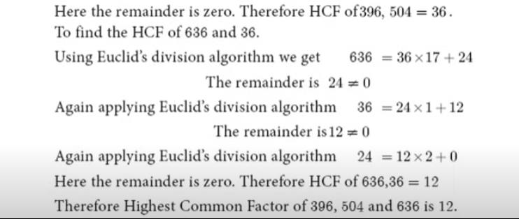 Find the HCF of 396, 504, 636
