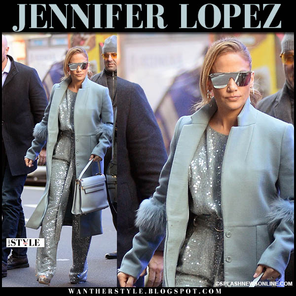 Jennifer Lopez in pale blue coat and sequin pants sally lapointe winter fashion december 12