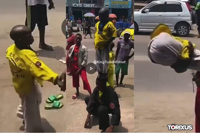Watch Video: 4 School Boys Impress Market Sellers with Stunning Gymnastic skills.
