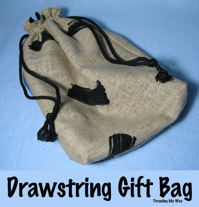 Reusable Drawstring Gift Bag... It is so easy to make a lined, reusable bag for gift giving. Two gifts in one. ~ Threading My Way