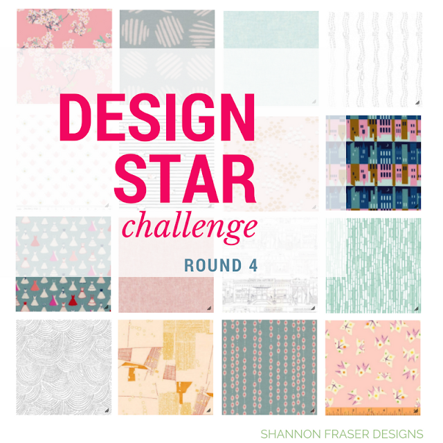 16 piece fabric bundle based on wanderlust theme with text overlay Design Star Challenge Round 4 by Shannon Fraser Designs