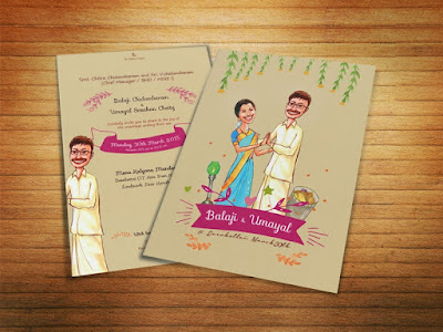 Illustrated Caricature Wedding Card South India