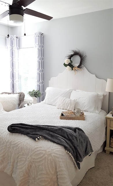 guest room, farmhouses bed, curvy farmhouse bed, curvy plank headboard,