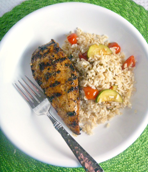 9 Summer Grilling Favorites 2018 - Grilled Balsamic Chicken with Mediterranean Rice - Slice of Southern