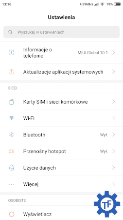 Xiaomi Redmi Note 4 MIUI 10 ustawienia