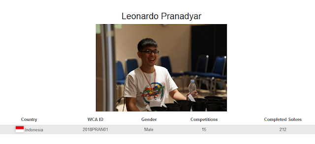Profile akun WCA dari Leonardo Pranadyar yang merupakan peringkat kedua nasional dalam menyelesaikan banyak rubik dengan mata tertutup di Indonesia