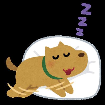 寝ながら走る犬のイラスト