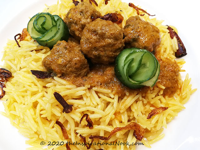 Anglo Indian Ball Curry  and Yellow Coconut Rice