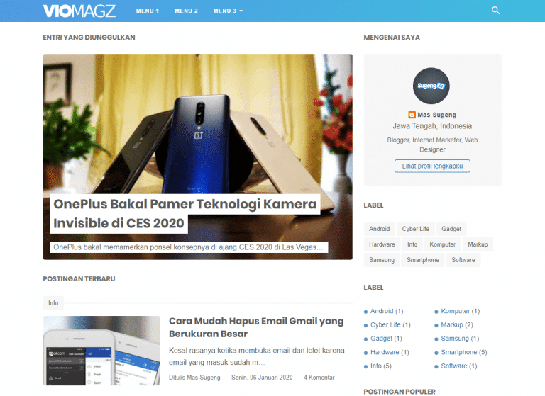 VioMagz v.4.6.0 Template Blogger Premium - download viomagz v.4.6.0 template blogger premium sudah termasuk responsive dan selalu ada diupdate agar bisa lebih seo friendly mobile dan untuk perihal kecepatan atau loadingnya