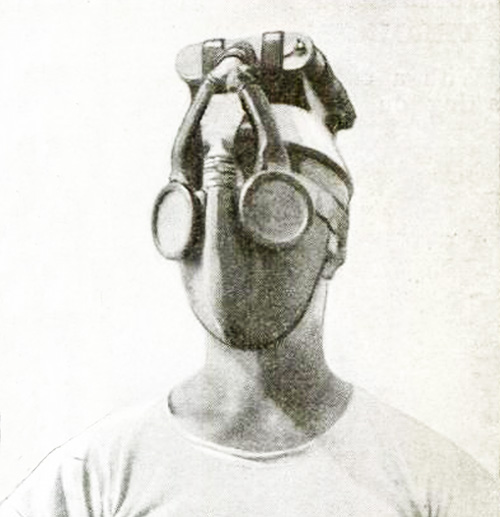Close up of 1921 navy gas mask
