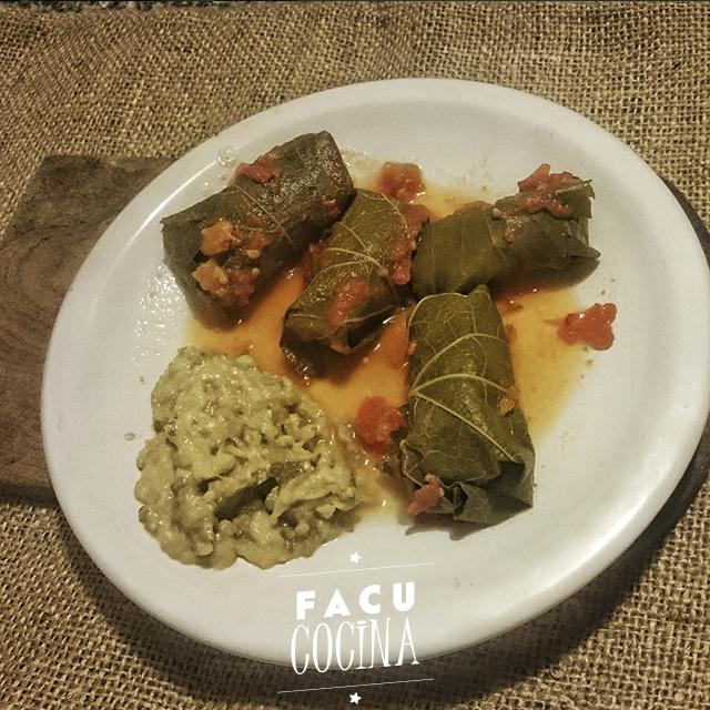 Dolmas: hojas de parra rellenas y Baba Ghanoush (Pasta de Berenjenas)