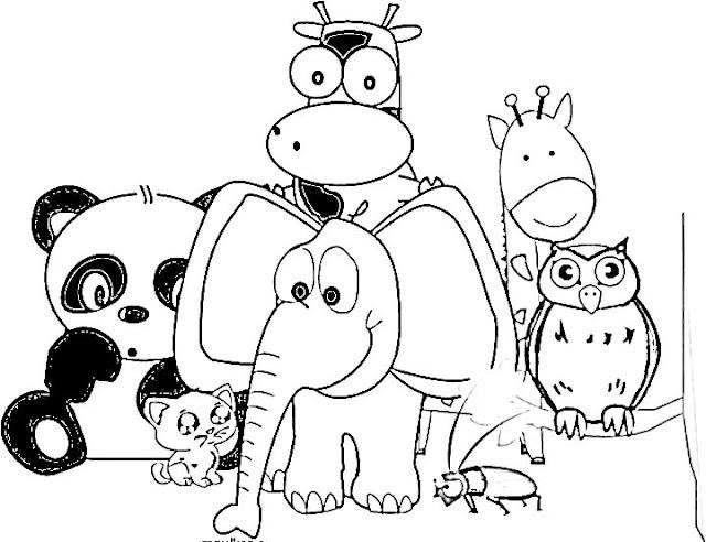 belajar menggambar dan mewarnai binatang hitam putih gajah panda kucing jangkrik jerapah burung hantu sapi