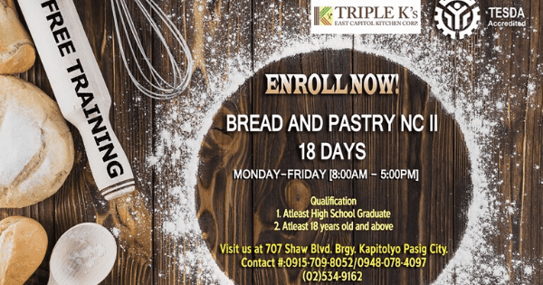 Bread and Pastry Free Training | Evening Classes Available (December)