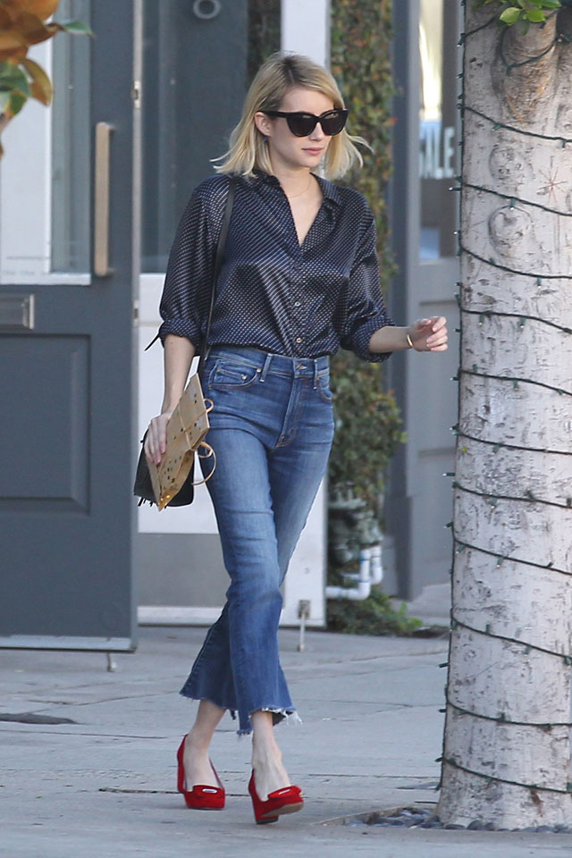 cropped flared jeans with blouse and loafers celebrity street style