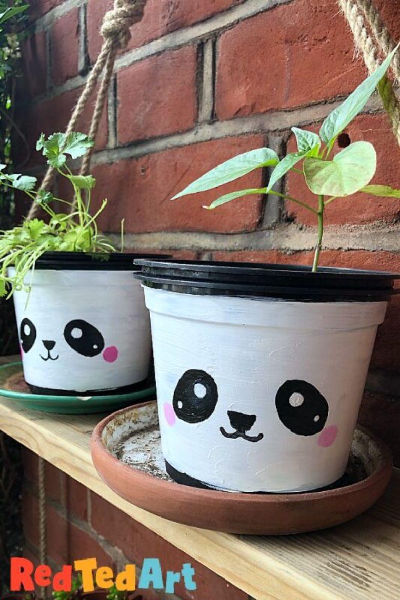painted pots panda craft