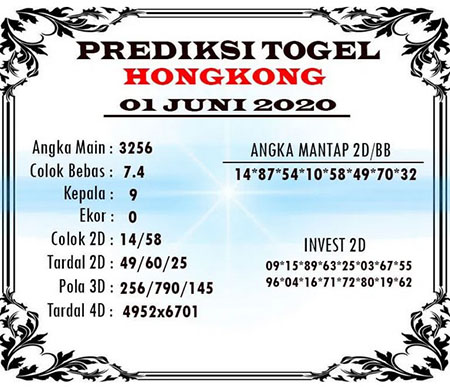Prediksi HK Malam Ini 01 Juni 2020 - Bocoran Angka