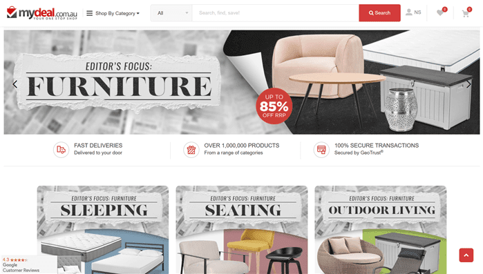日用雑貨や家具を売ってるMydeals.com.auの通販ページ画像