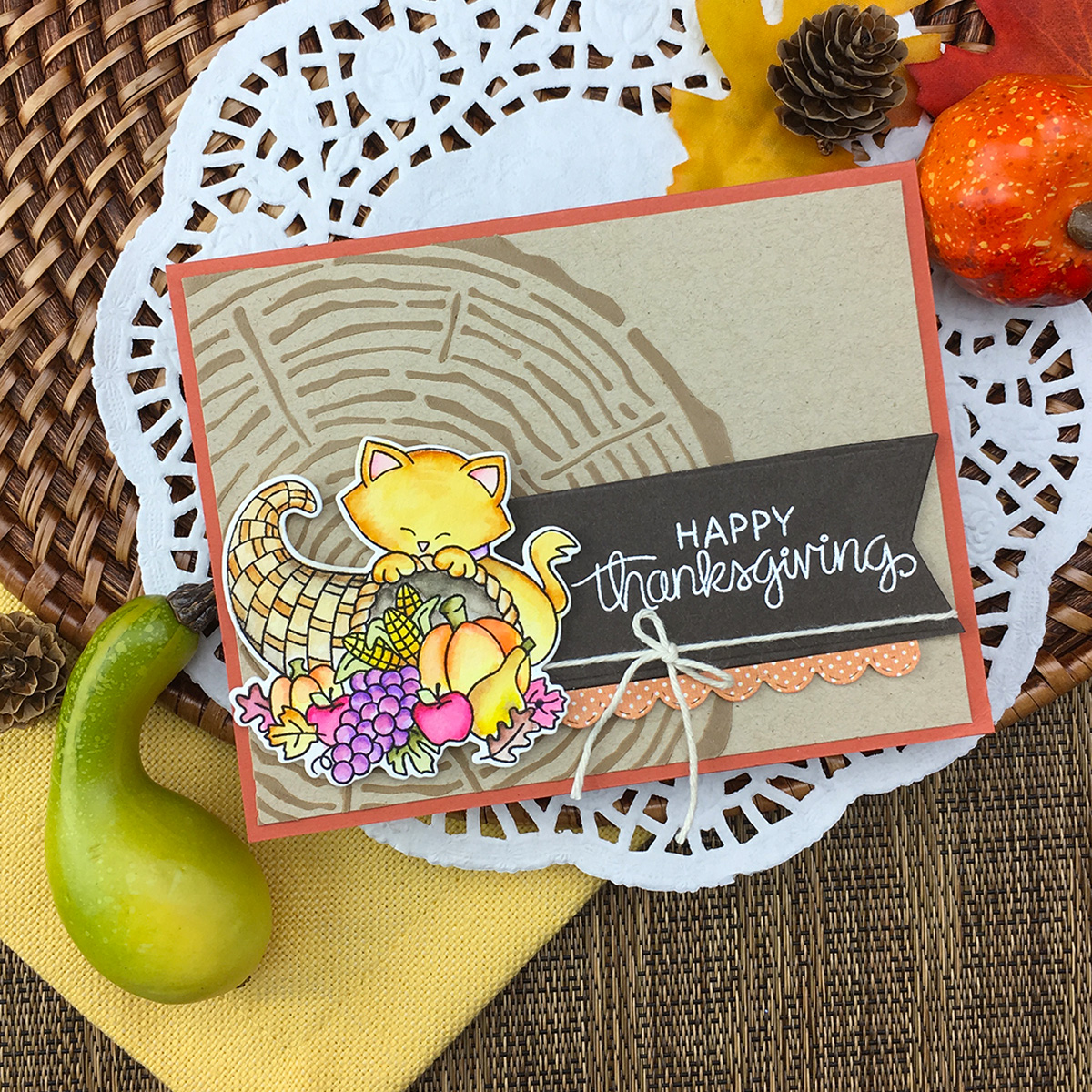 Happy Thanksgiving Card by Jennifer Jackson | Newton's Cornucopia Stamp Set by Newton's Nook Designs #newtonsnook #handmade