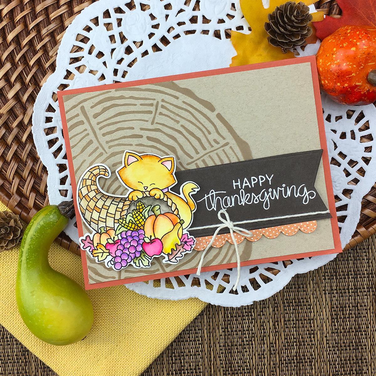 Happy Thanksgiving Card by Jennifer Jackson | Newton's Cornucopia Stamp Set by Newton's Nook Designs #newtonsnook #handmade