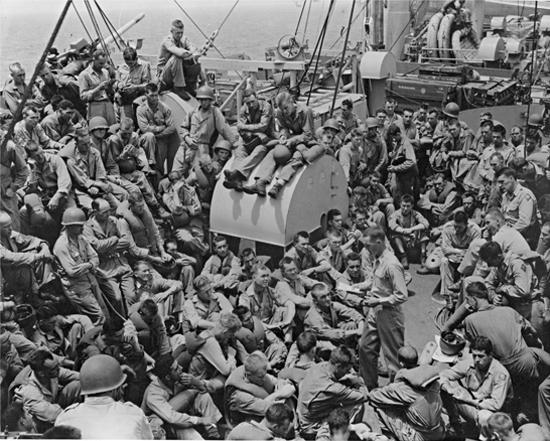 Men Aboard Liberty Ship World War II